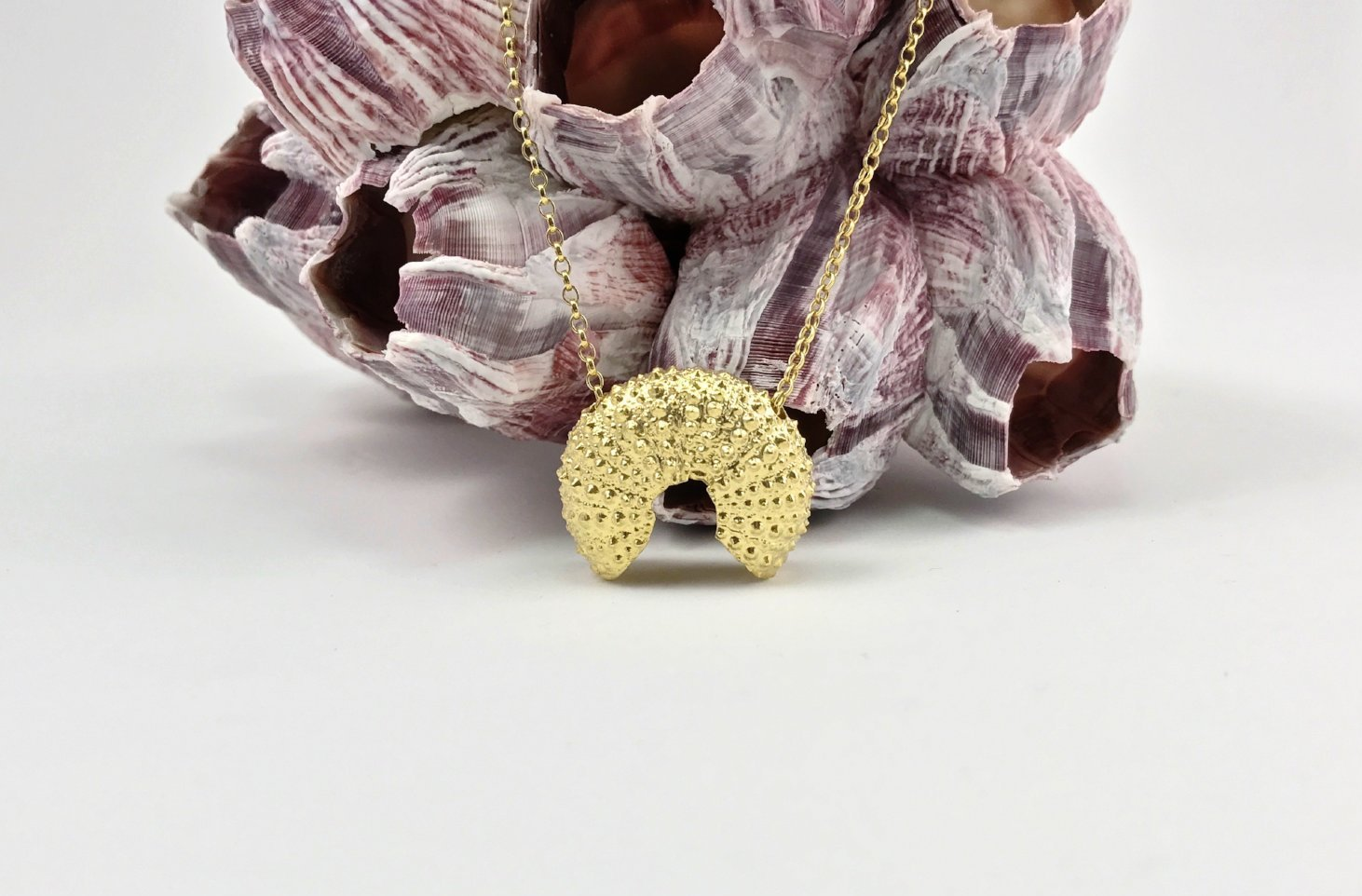 Broken Sea Urchin necklace - gold plated - Jennifer Kinnear Jewellery - Ocean Collection