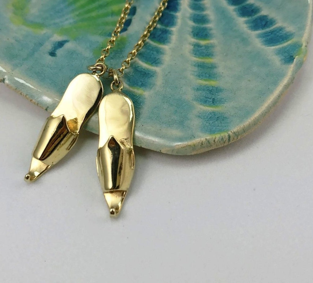 SLIPPER necklace, double - gold plated - Jennifer Kinnear Jewellery - charms collection