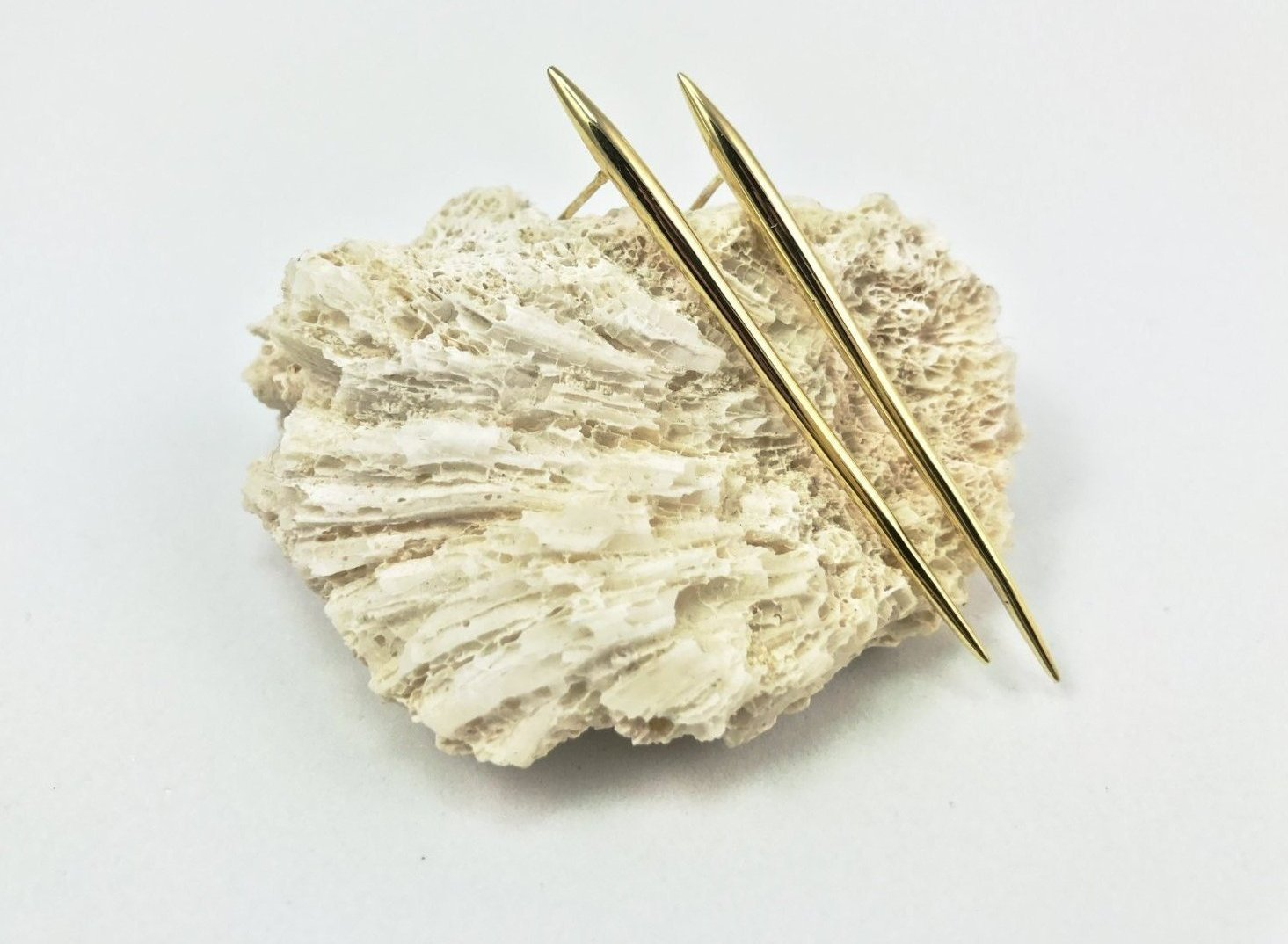 Sea urchin spine earrings, large - gold plated - Jennifer Kinnear Collection Ocean