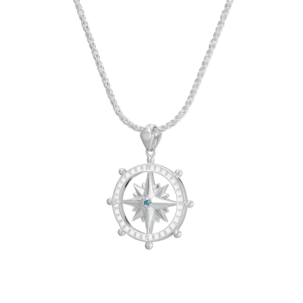 Compass, ship's wheel and north star necklace in silver