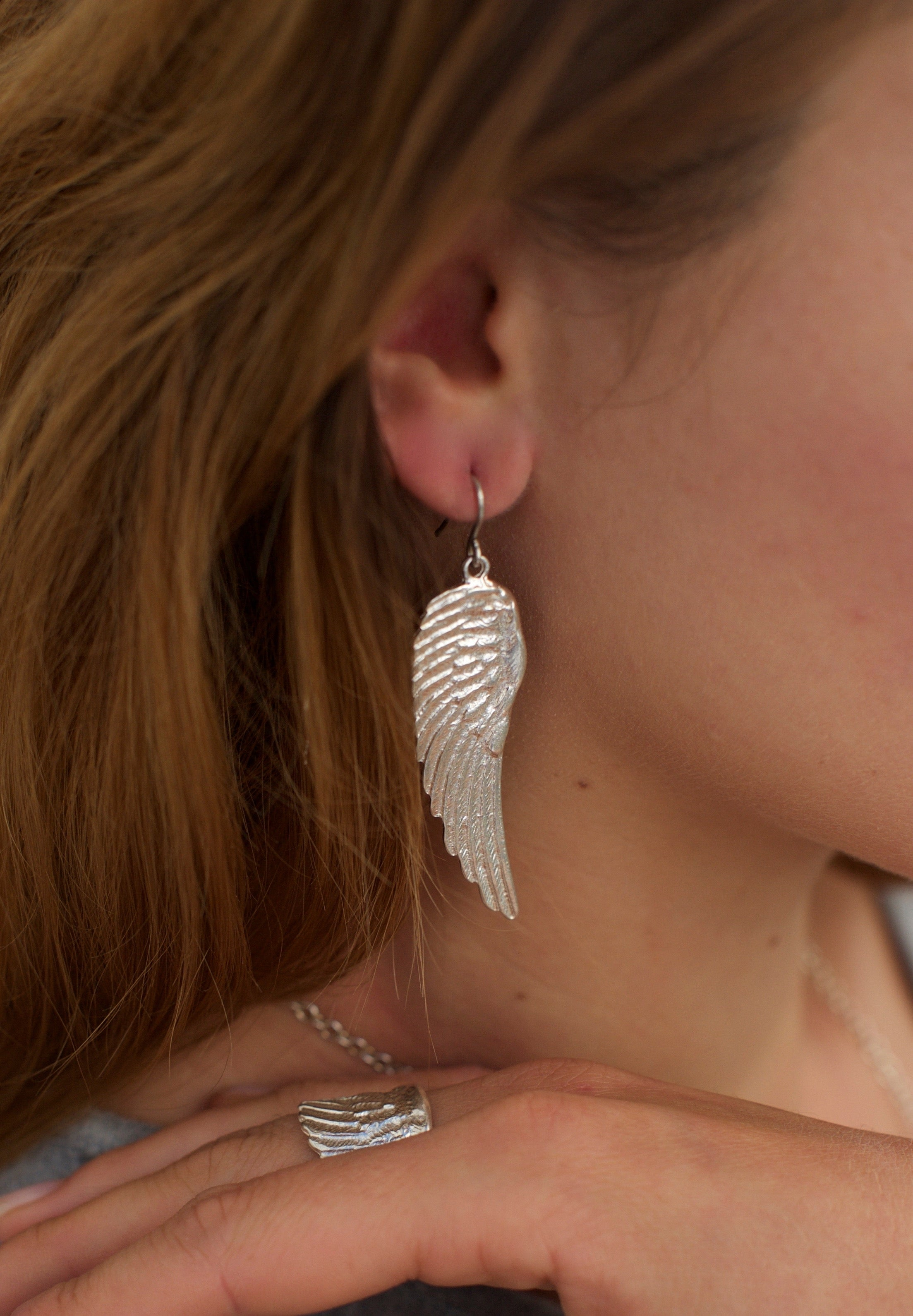 Angel wing earrings silver - Jennifer Kinnear Jewellery