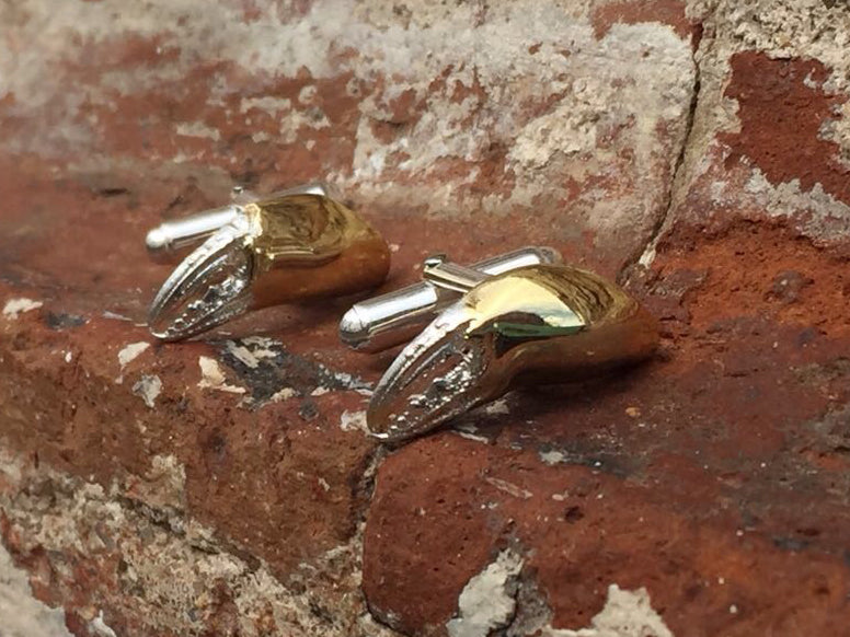 CRAB CLAW cufflinks - silver, gold plated - Jennifer Kinnear Jewellery - crab claw collection