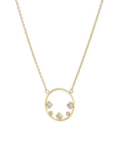 Gold Circle 5 Stone CZ Necklace