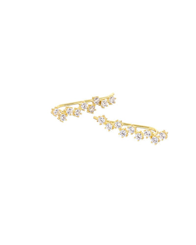Gold Cluster Climber Earrings