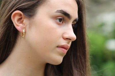 Gold Link Hoop Earrings