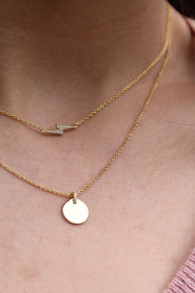 Gold Mini Disc and Pave Necklace