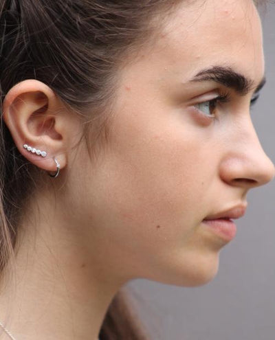 Silver 5 Stone Climber Earrings