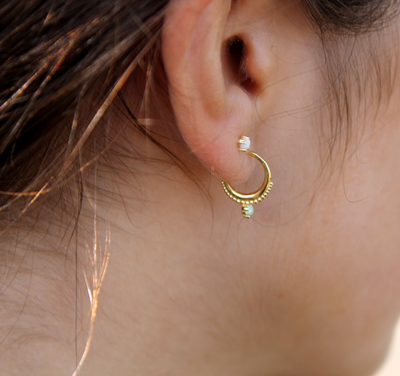 Gold Mini Hoops with Opal.