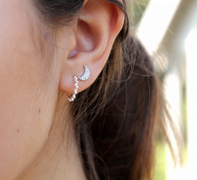 Silver Pave Crescent Moon Studs