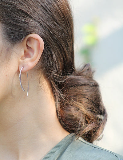 Silver Pave  Curve Earrings