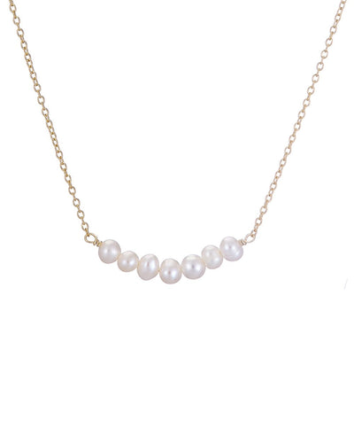Gold Row Of Pearls Necklace