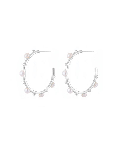 Silver and Pearl Hoop Earrings