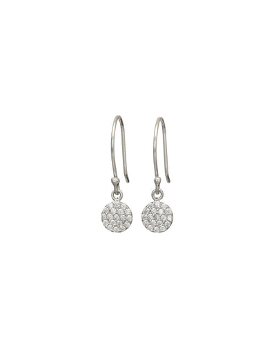Silver Pave Disc Drop Earrings