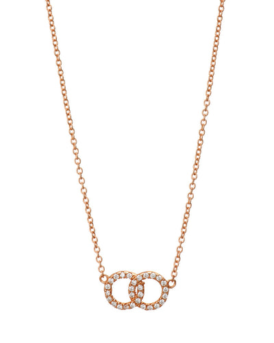 Rose Gold Pave 2 Circle Necklace