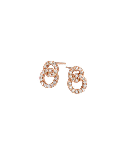 Rose Gold Pave 2 Circle Stud