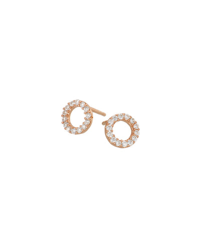 Rose Gold Pave Circle Studs