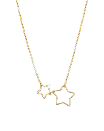 Gold Open 2 Star Necklace