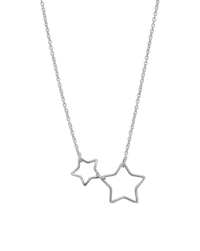 Silver Open 2 Star Necklace