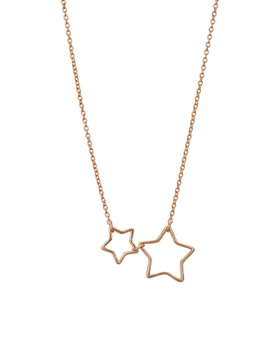 Rose Gold Open 2 Star Necklace