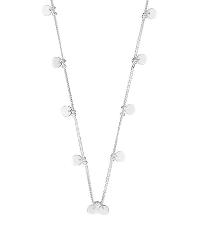 Silver Tiny Disc Drop Necklace