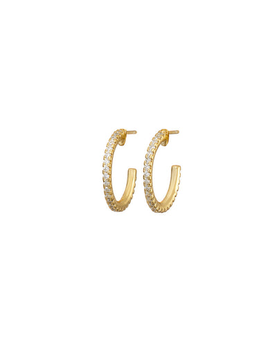 Gold Pave Hoop Earrings