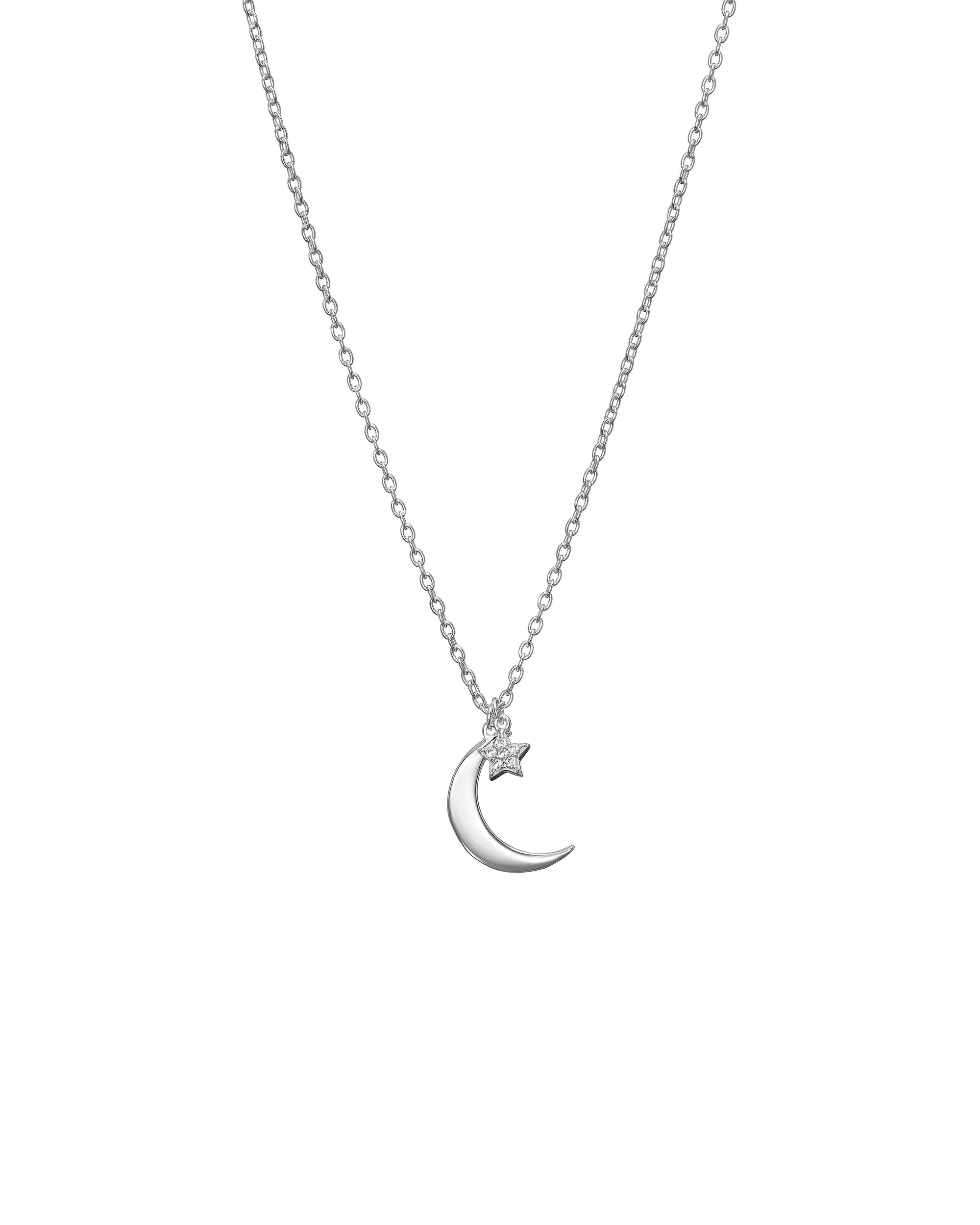Silver Crescent Moon Star Pendant Necklace