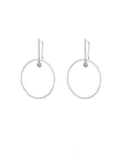 Silver Hoop + CZ Droplet Earrings