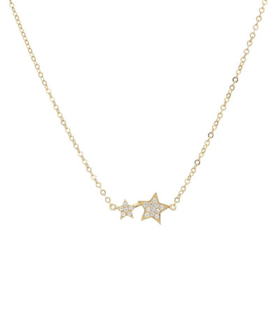 Gold Pave 2 Star Necklace
