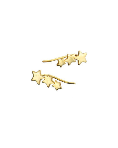 Gold 3 Star Climber Earring