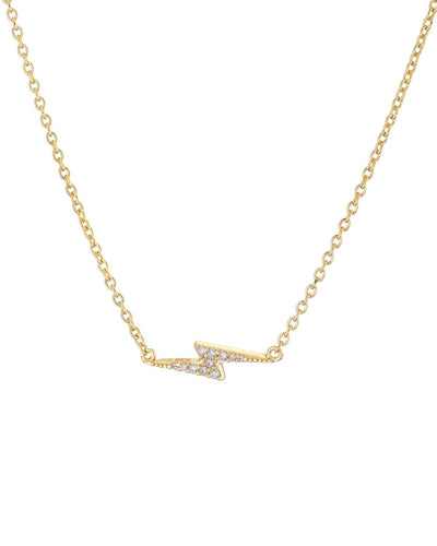Gold Pave Bolt Necklace