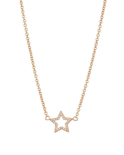 Rose Gold Pave Star Necklace