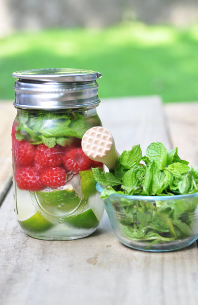 Raspberry, Mint, and Lime Infused Water
