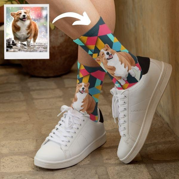 Custom White Shepherd Dog Socks