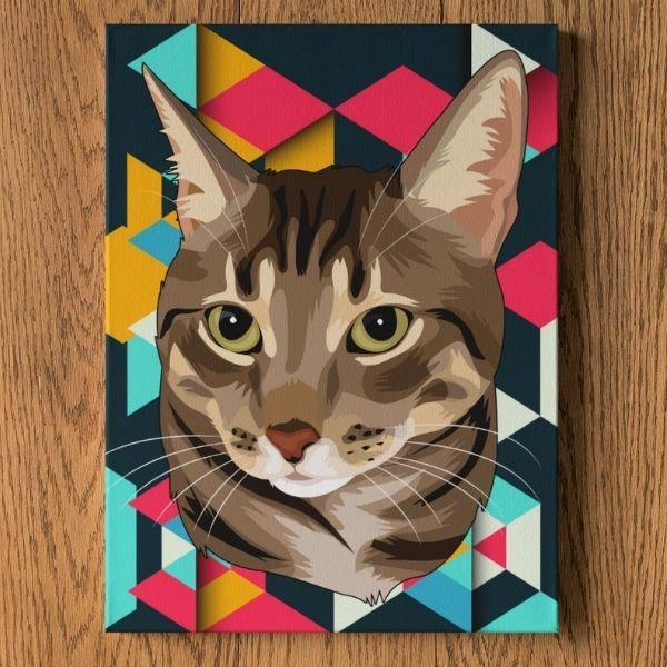 american-bobtail-cat-painting