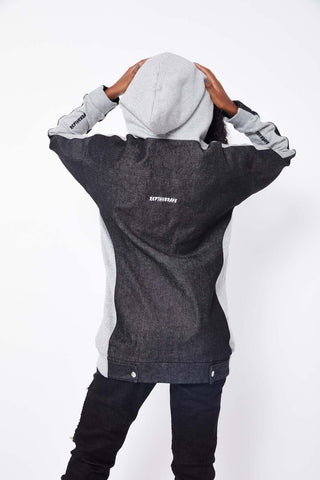 BURNING ROSE GRAPHIC HALF DENIM HOODIE- LIGHT GREY/BLACK