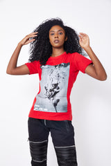 BURNING ROSES T-SHIRT-RED