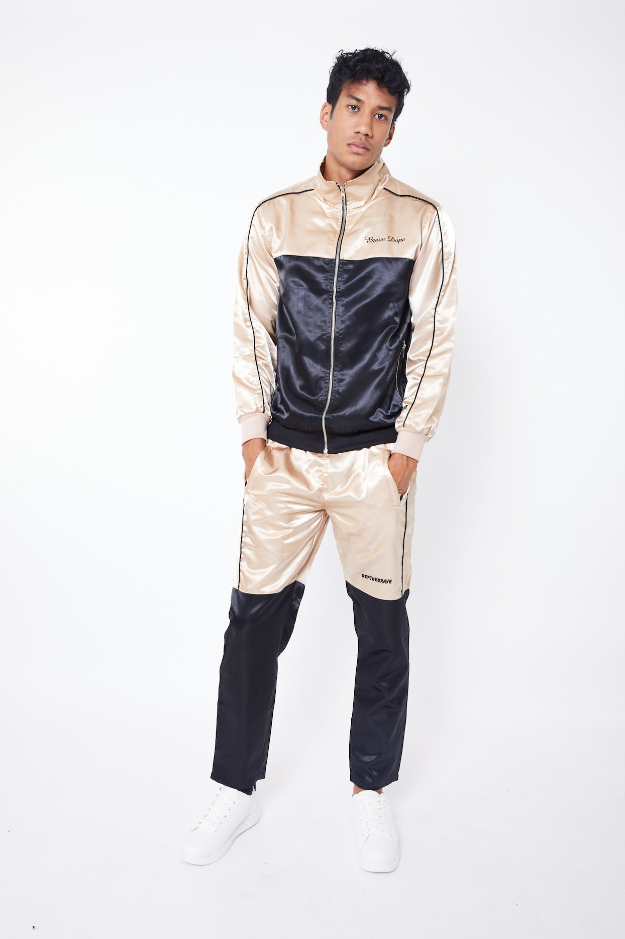 REPTHEBRAVE COLOUR BLOCK TRACKSUIT BOTTOMS-CREAM WHITE