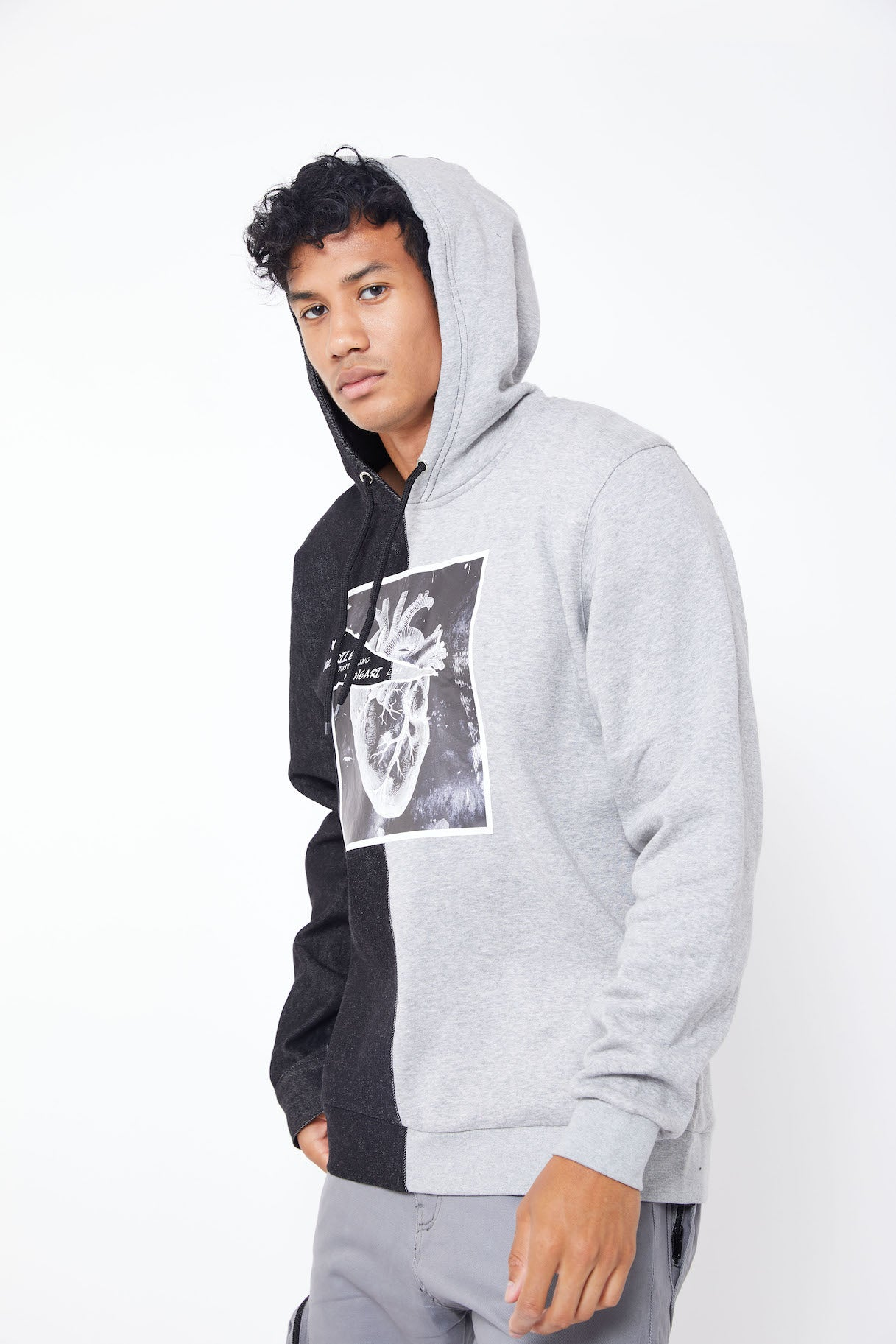NOT HEARTLESS HALF DENIM HOODIE- LIGHT GREY/BLACK