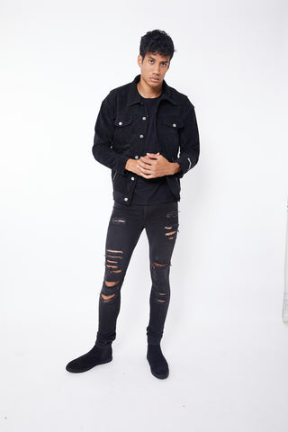 REPTHEBRAVE TWO TONE SUEDE TRUCKER JACKET-BLACK