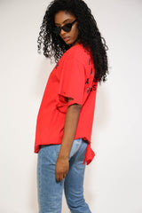 RED RIPPED SHORT SLEEVED T-SHIRT