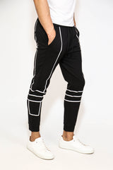 BLACK CROSS STRIPED TRACKSUIT JOGGERS