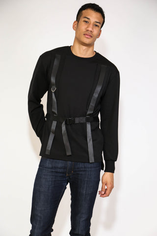 STRAP TAPED BELT SWEATSHIRT