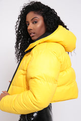 REVERSIBLE PUFFER JACKET-YELLOW MUSTARD/BLACK