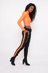 ORANGE SIDE STRIPED CARGO STYLE TROUSERS