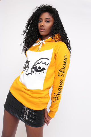 GRAPHIC EYED YELLOW MUSTARD HOODIE