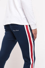 DOUBLE STRIPE NAVY BLUE TRACKSUIT JOGGER BOTTOMS
