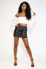 BLACK LEATHER SKIRT WITH BELT BUCKLES