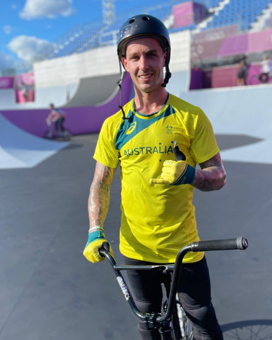 Logan Martin on the Tokyo Freestyle BMX COurse during practice