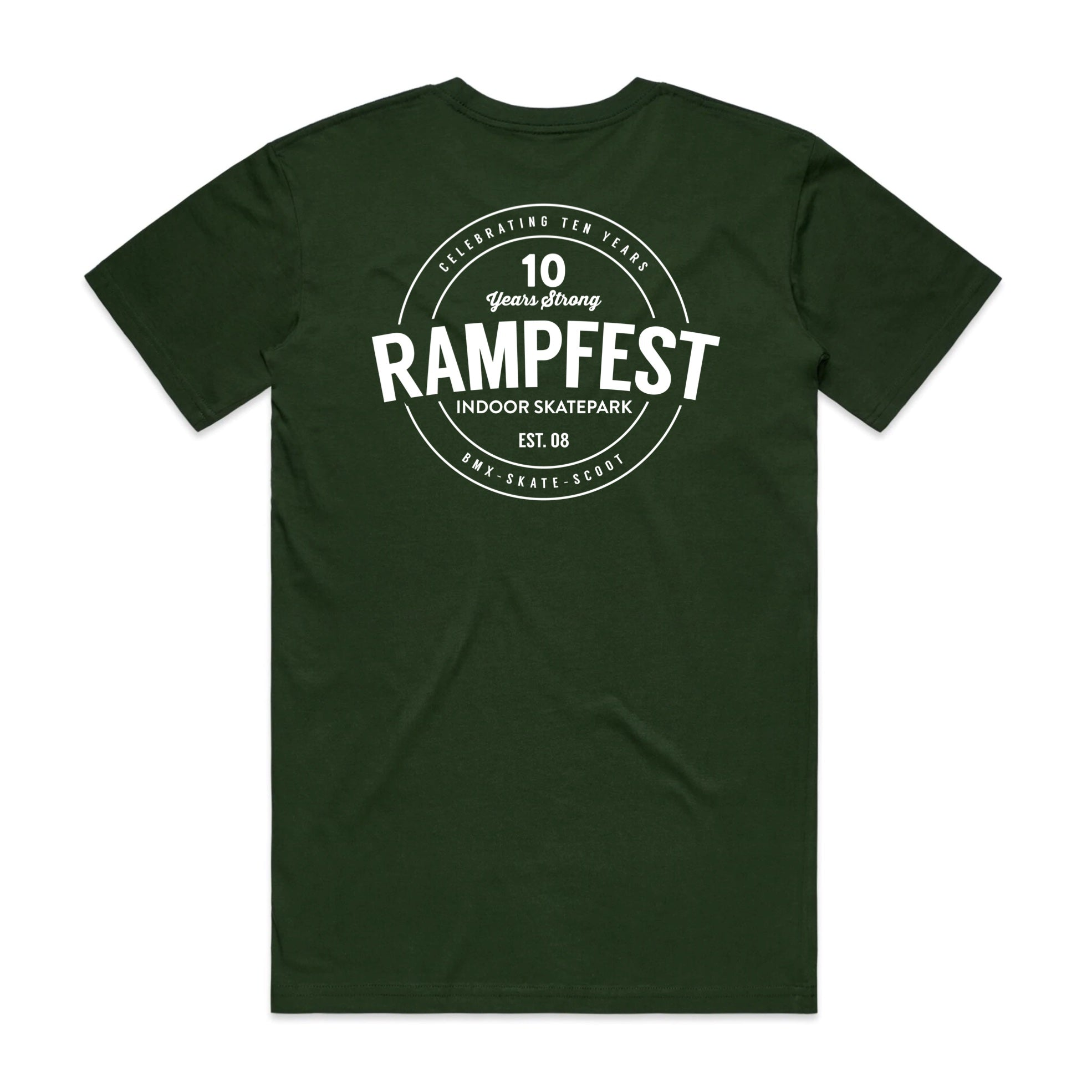 Rampfest 10 Year Anniversary Tee - Forest Green/White