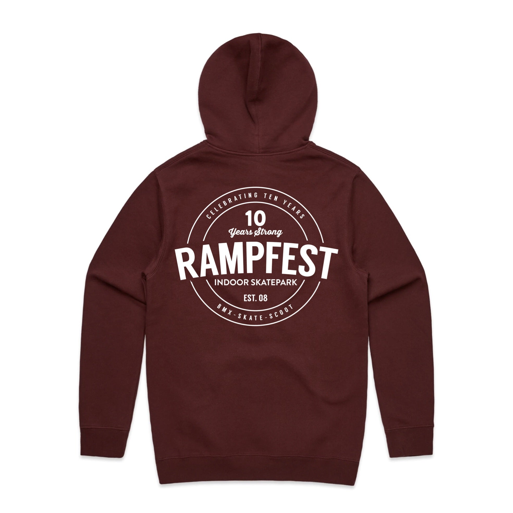 "RampFest ""10 Years Strong"" Hoodie - Burgandy"